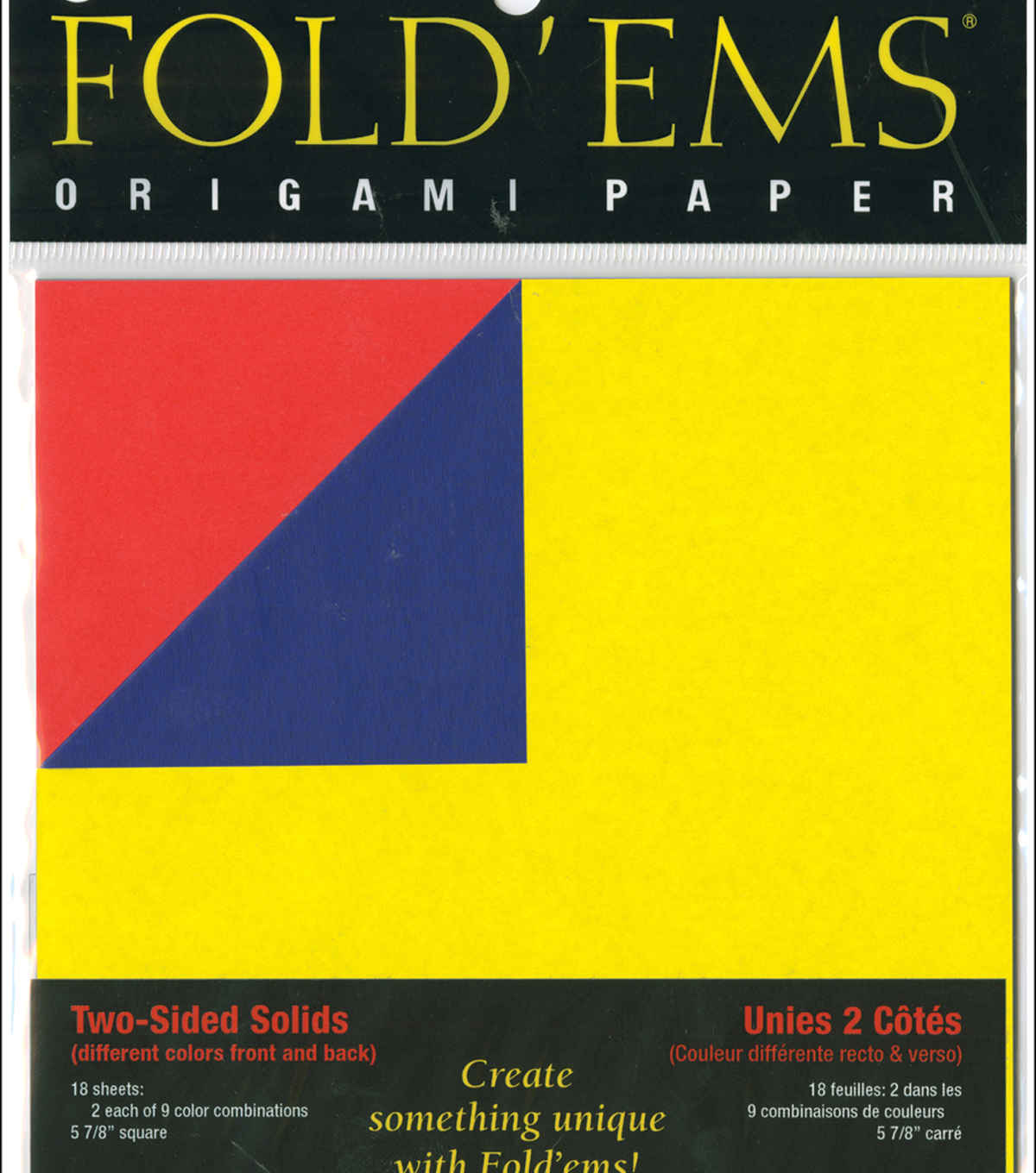 "Fold 'Ems Origami Two-Sided Solid Paper 5.875"" 18/Pkg-"