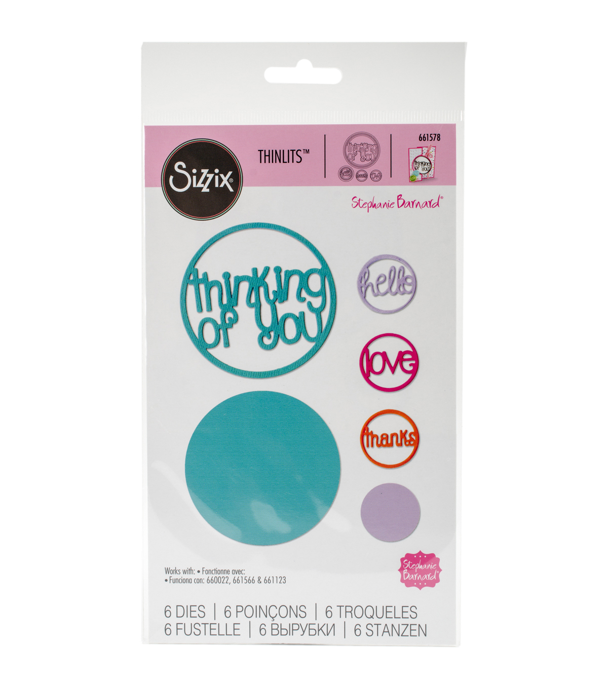 Sizzix® Thinlits™ Stephanie Barnard 6 Pack Die-Word Circle #2