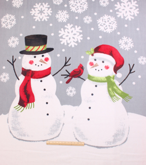 No-Sew Throw Fleece Fabric 72\u0022-Snowmen Together Panel