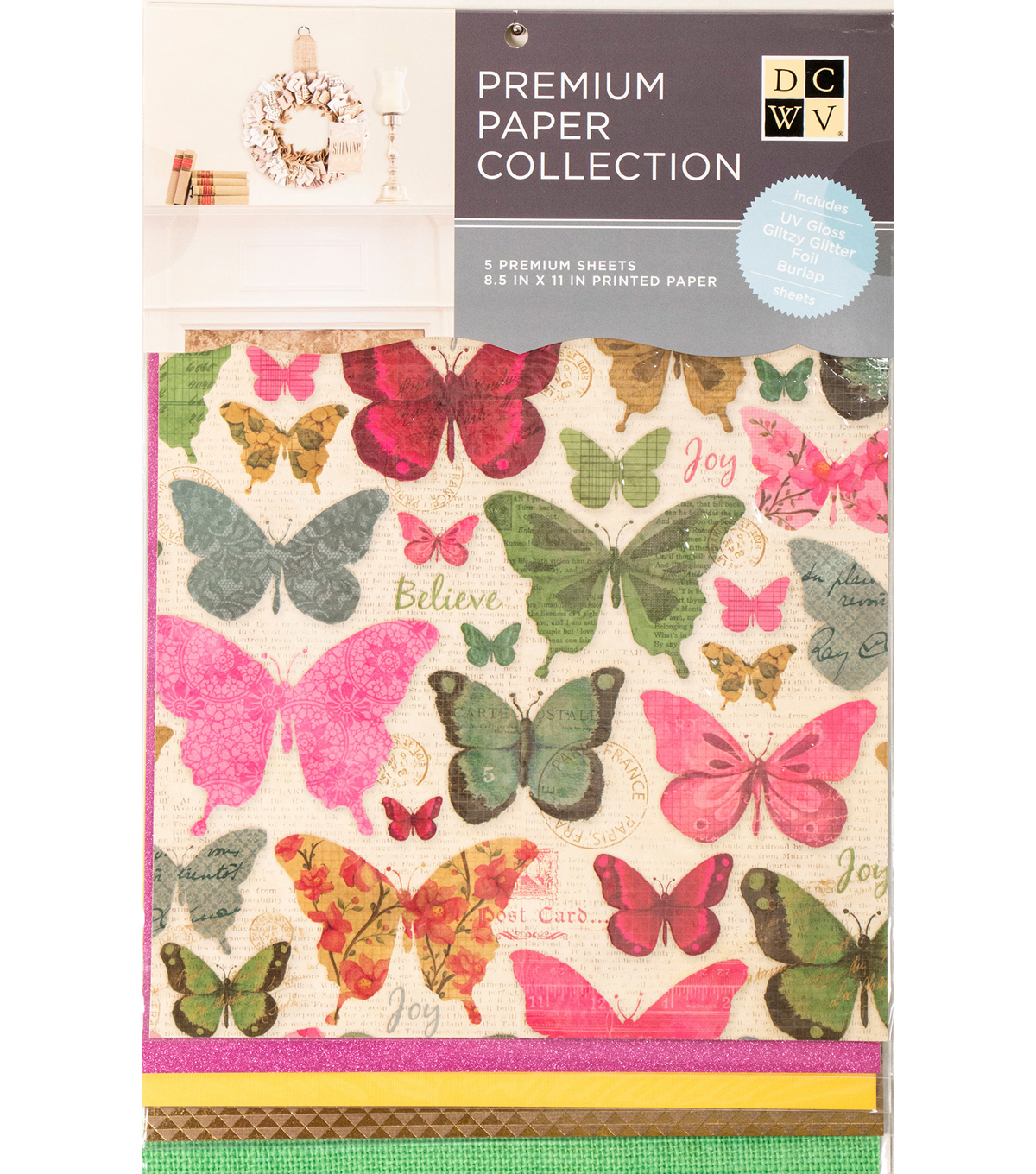 "DCWV 8.5""X11"" set of 5 Premium Papers-Mariposa Assortment"