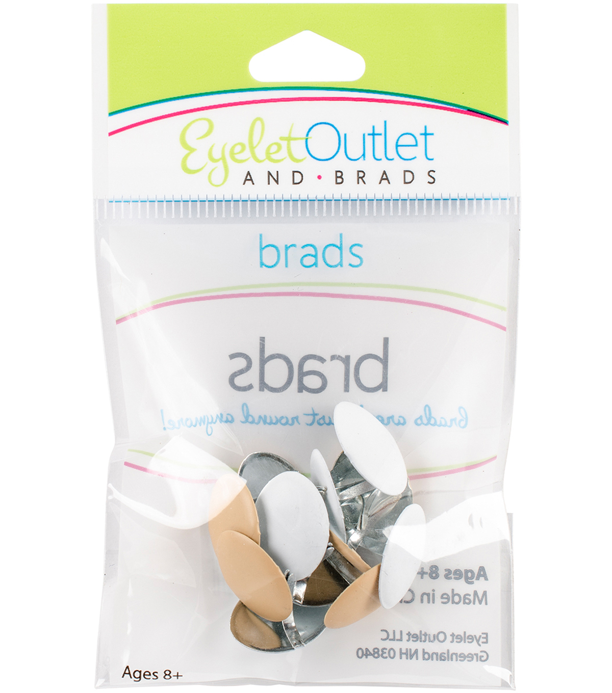 Eyelet Outlet Shape Brads-Brown/White Eggs