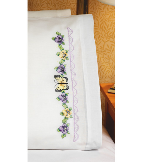 Pansies & Butterflies Pillowcase Pair Stamped Cross Stitch-20X30