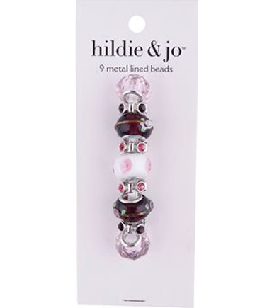 hildie & jo™ 9 Pack Metal Lined Glass Beads-Pink & Purple