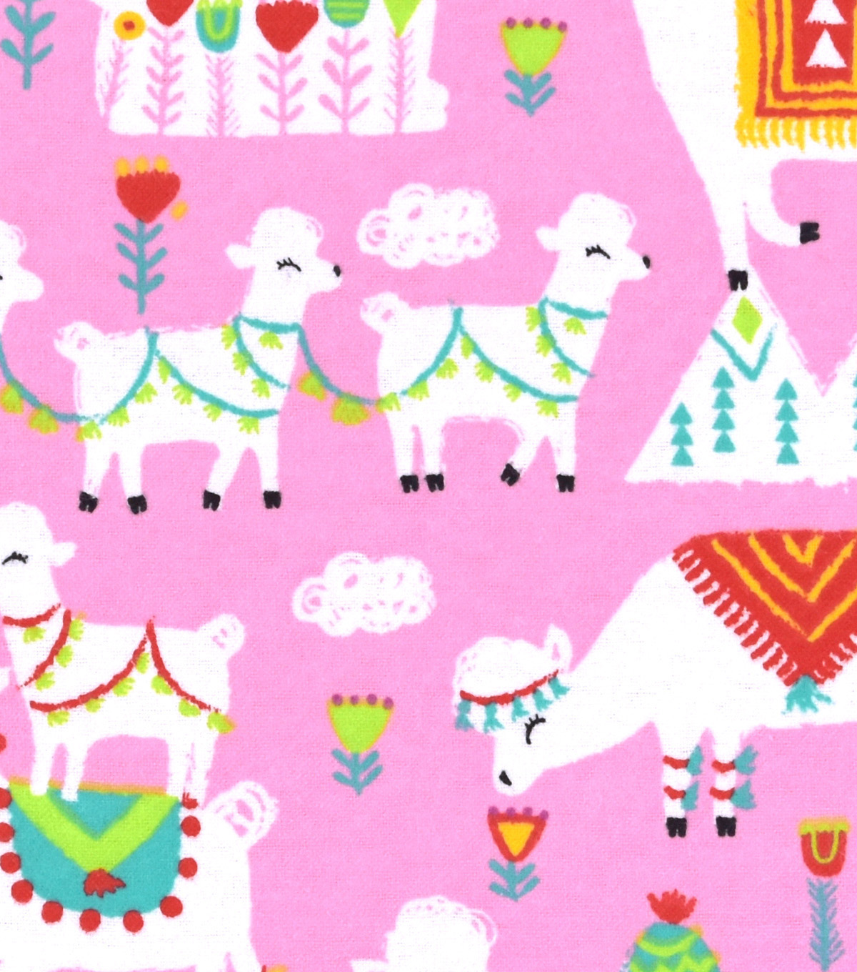 Snuggle Flannel Fabric 42\u0022-Festive Llamas On Pink