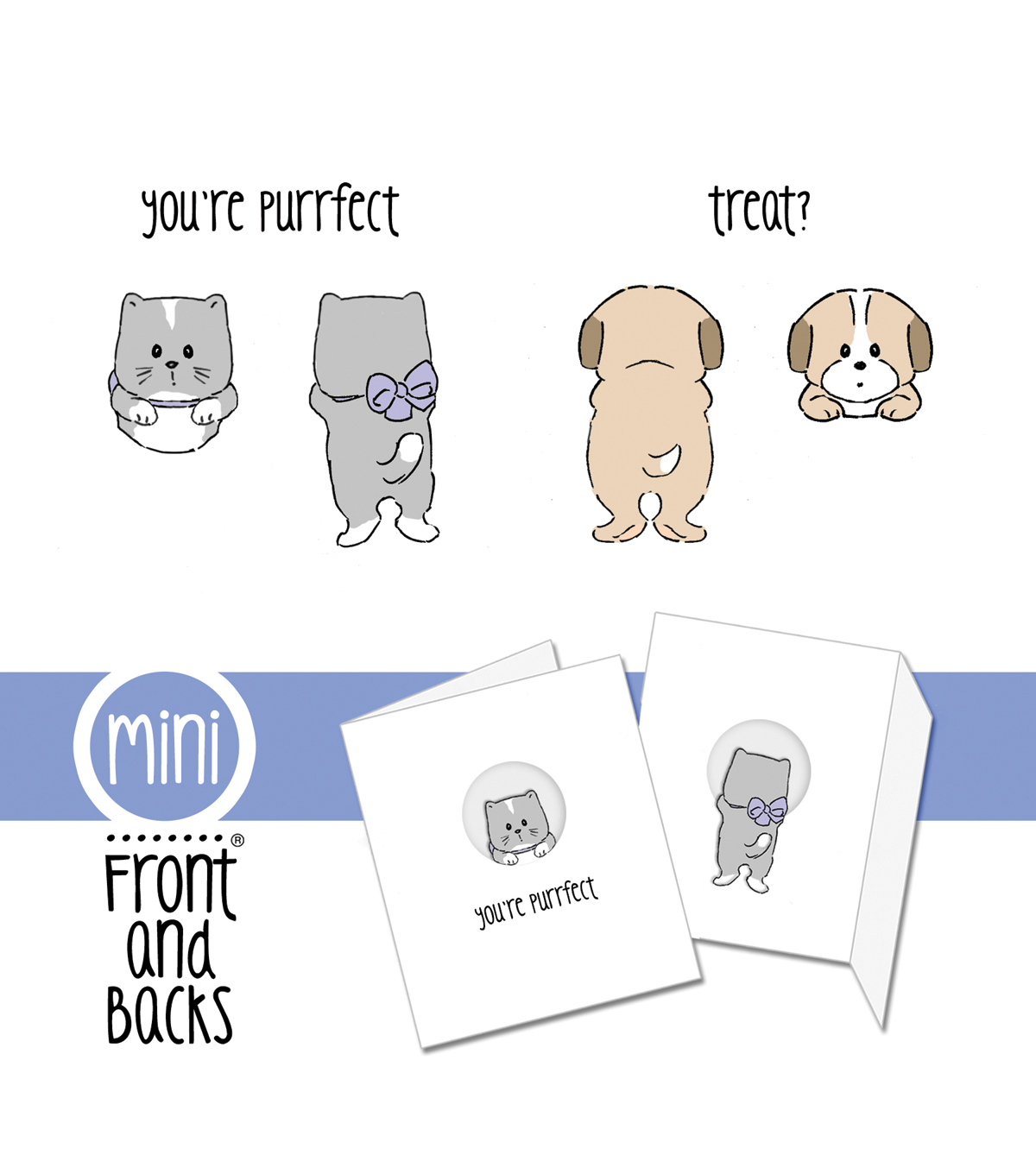 Art Impressions Front-N-Backs Cling Rubber Stamp Cat & Dog