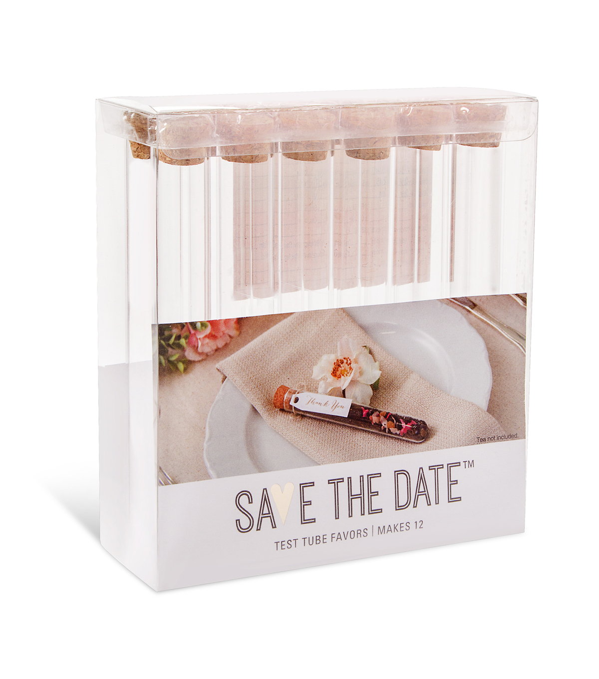 Save The Date Glass Favor Tubes