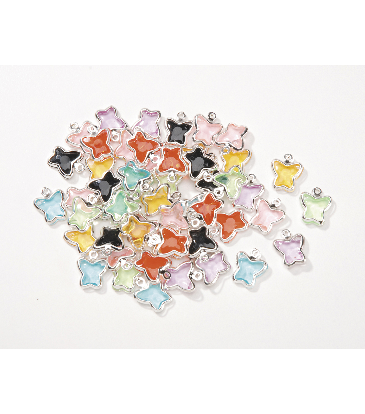 Acrylic Butterfly Shaped Charms, Assort. Colors, 8.5mm x 12mm, 50pcs/pkg