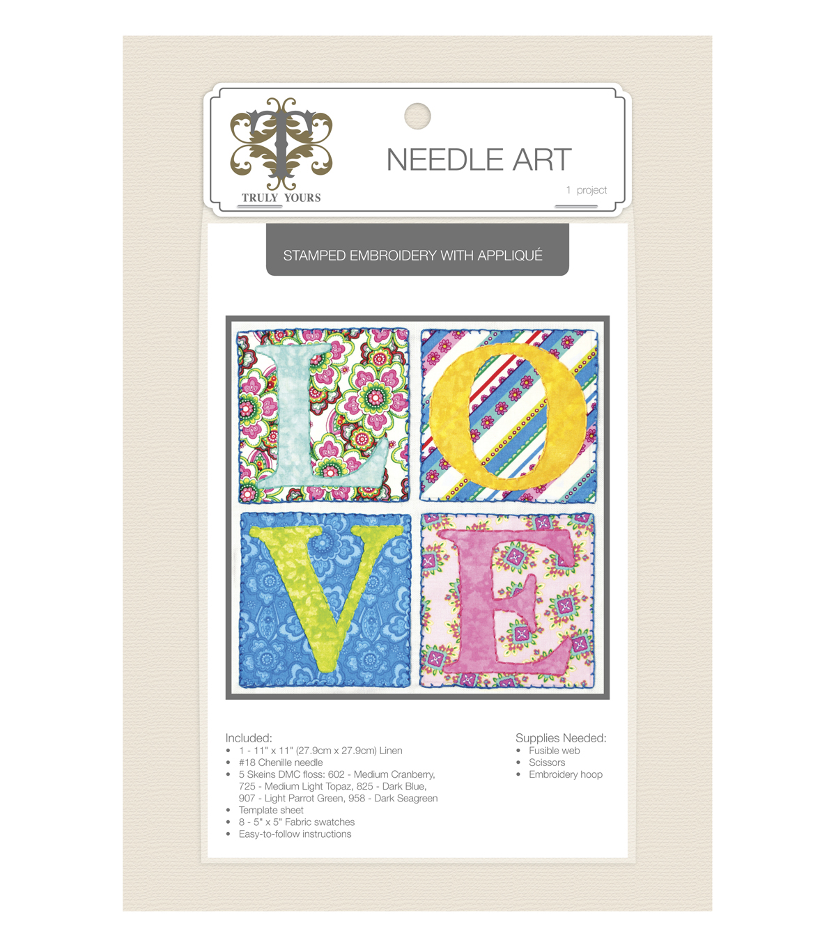 Truly Yours™ Needle Art Stamped Embroidery Kit- Love