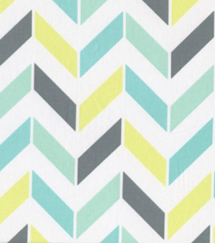 Keepsake Calico Fabric- Large Turquoise & Green Multi Chevron | JOANN