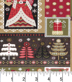 "Maker's Holiday Cotton Fabric 43""-Santa Blocks"