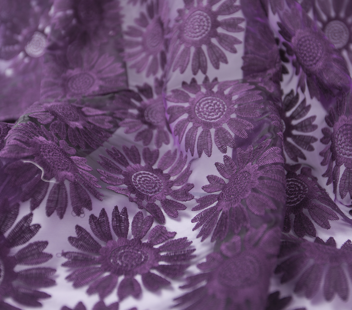SUEDEsays Fabric- Daisy Embroidery Mystic Purple