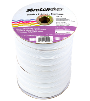 Braided Elastic 3/4\u0022 Wide 90 Yards-White