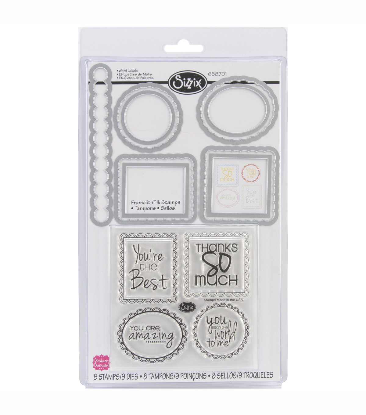 Sizzix Framelits Dies With Clear Stamps Word Labels