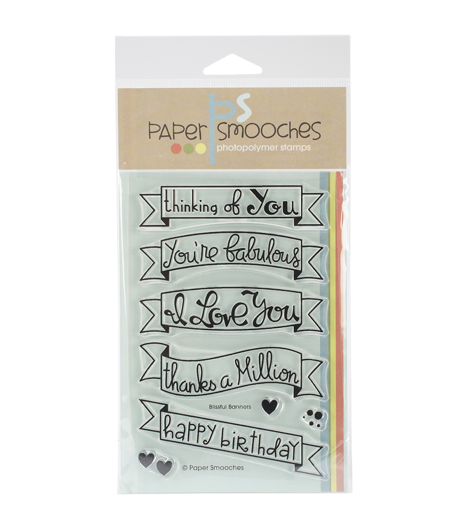 "Paper Smooches 4""X6"" Clear Stamps-Blissful Banners"