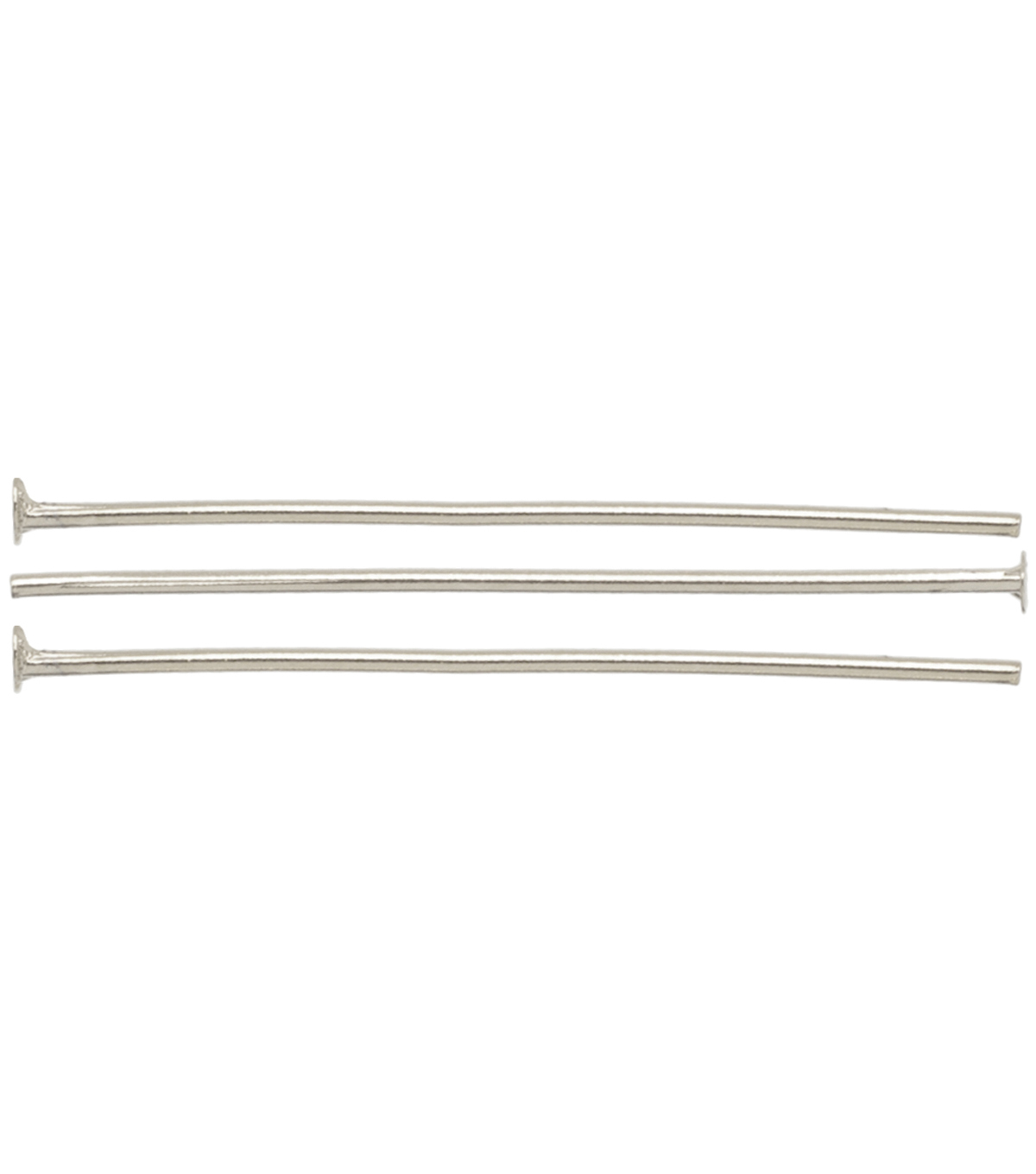 Silver Plated Metal Findings-25mm Head Pin 22/Pkg