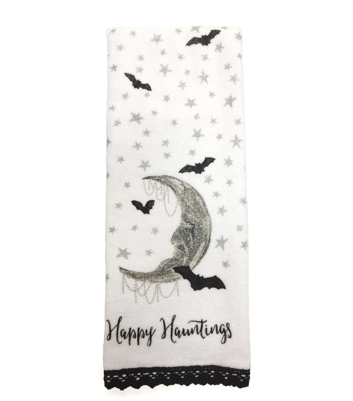 Maker\u0027s Halloween Velour & Terry Hand Towel-Happy Hauntings & Moon