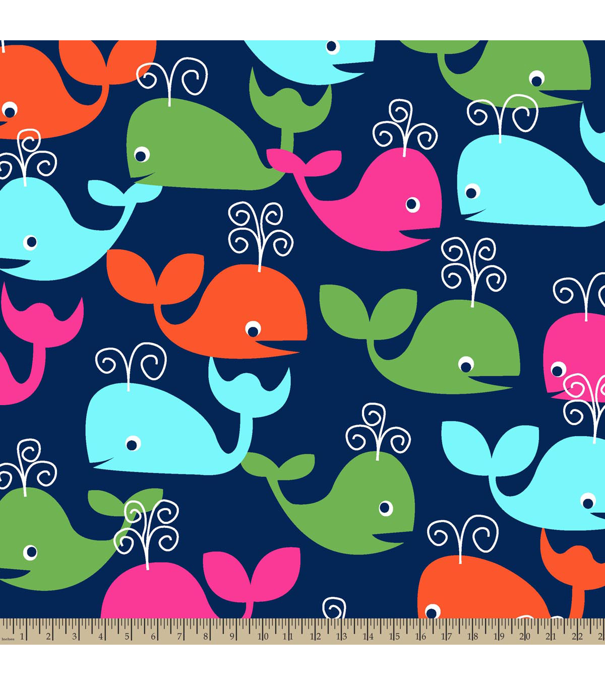 "Blizzard Fleece Fabric 59""-Whales"