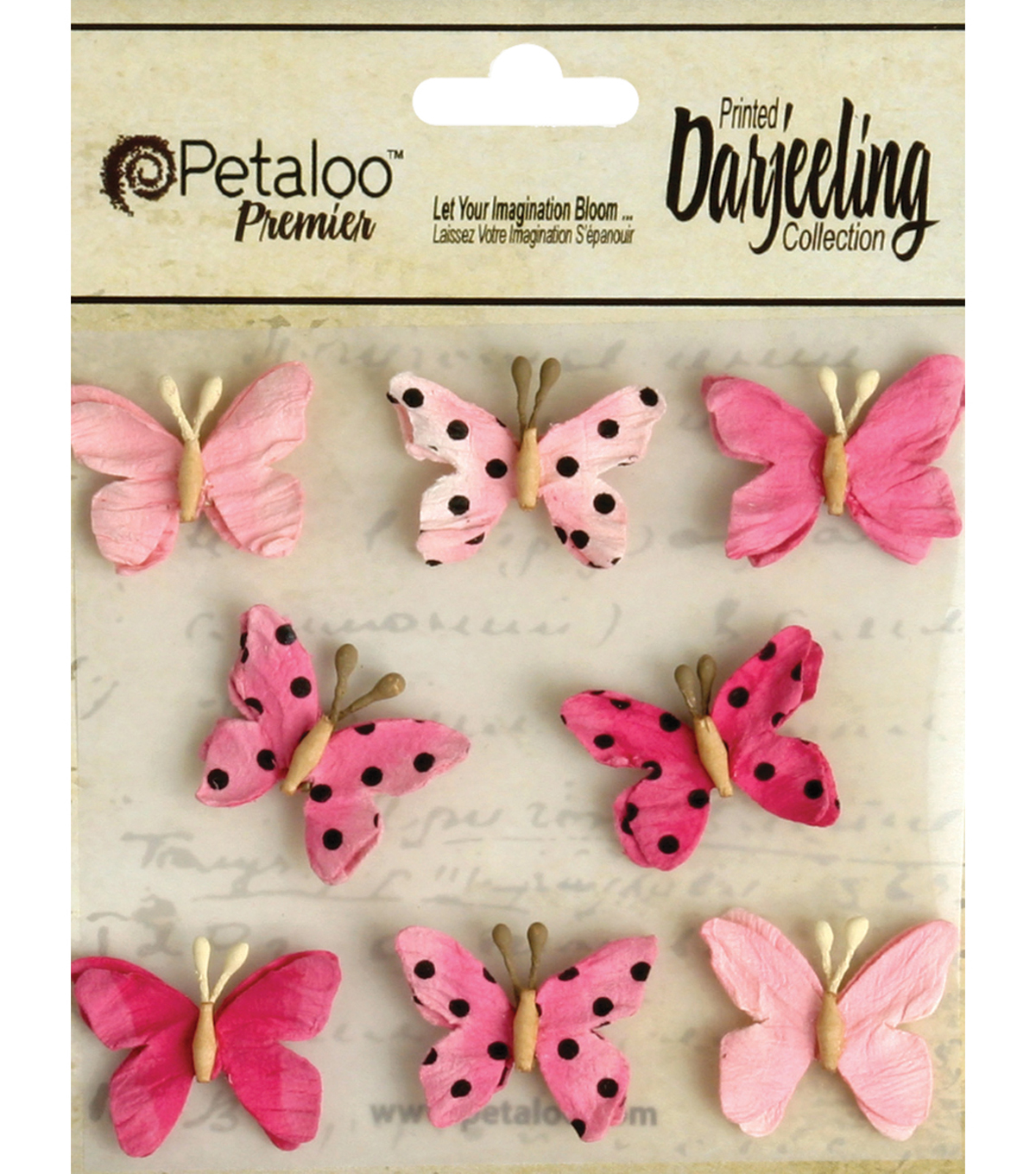 Darjeeling Teastained Mini Butterflies 1\u0022-Pink