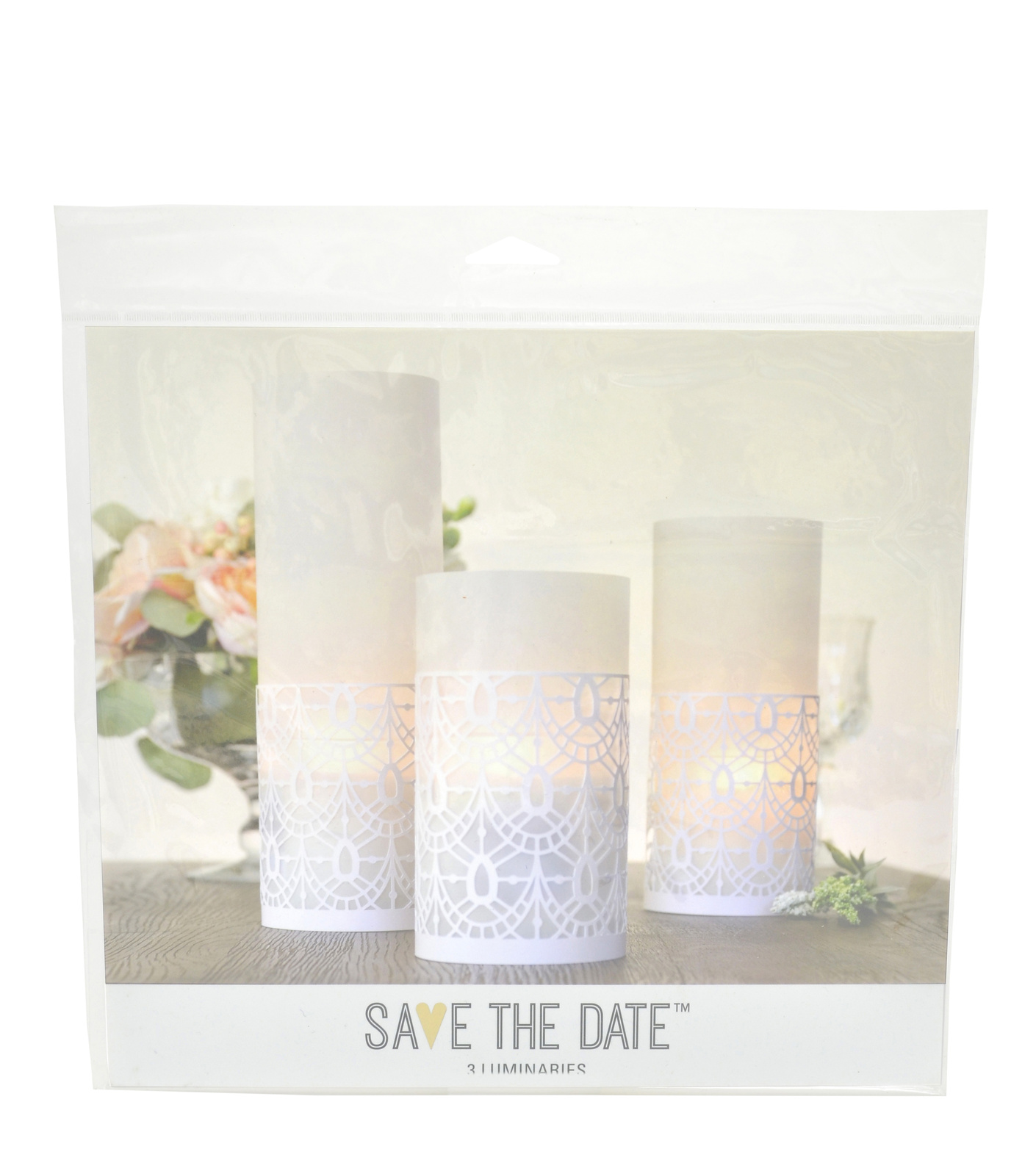 Save The Date™ 3 Pack Laser Cut Luminaries
