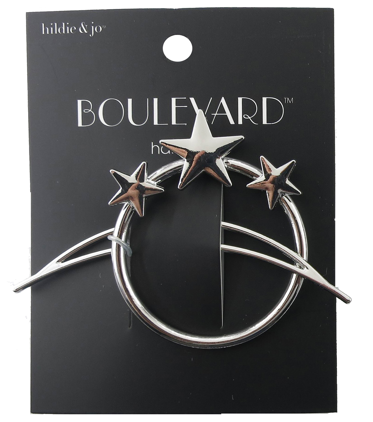 hildie & jo™ Open Circle with 3-Stars & Open Moon Silver Hair Pin
