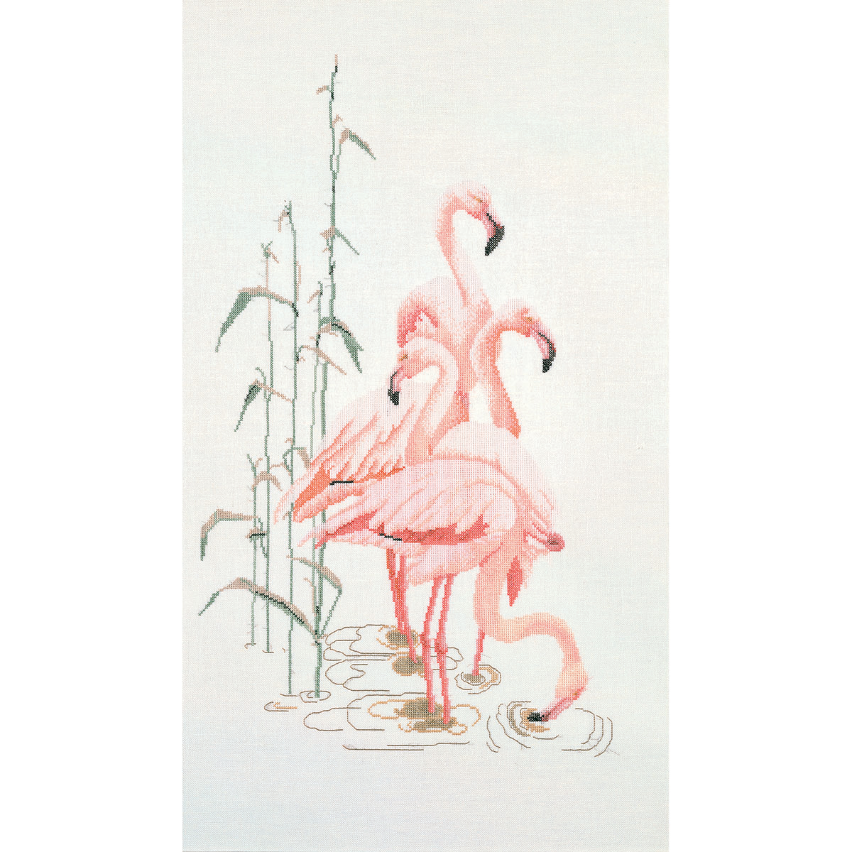 Thea Gouverneur counted-cross-stitch Kit Flamingoes On Aida