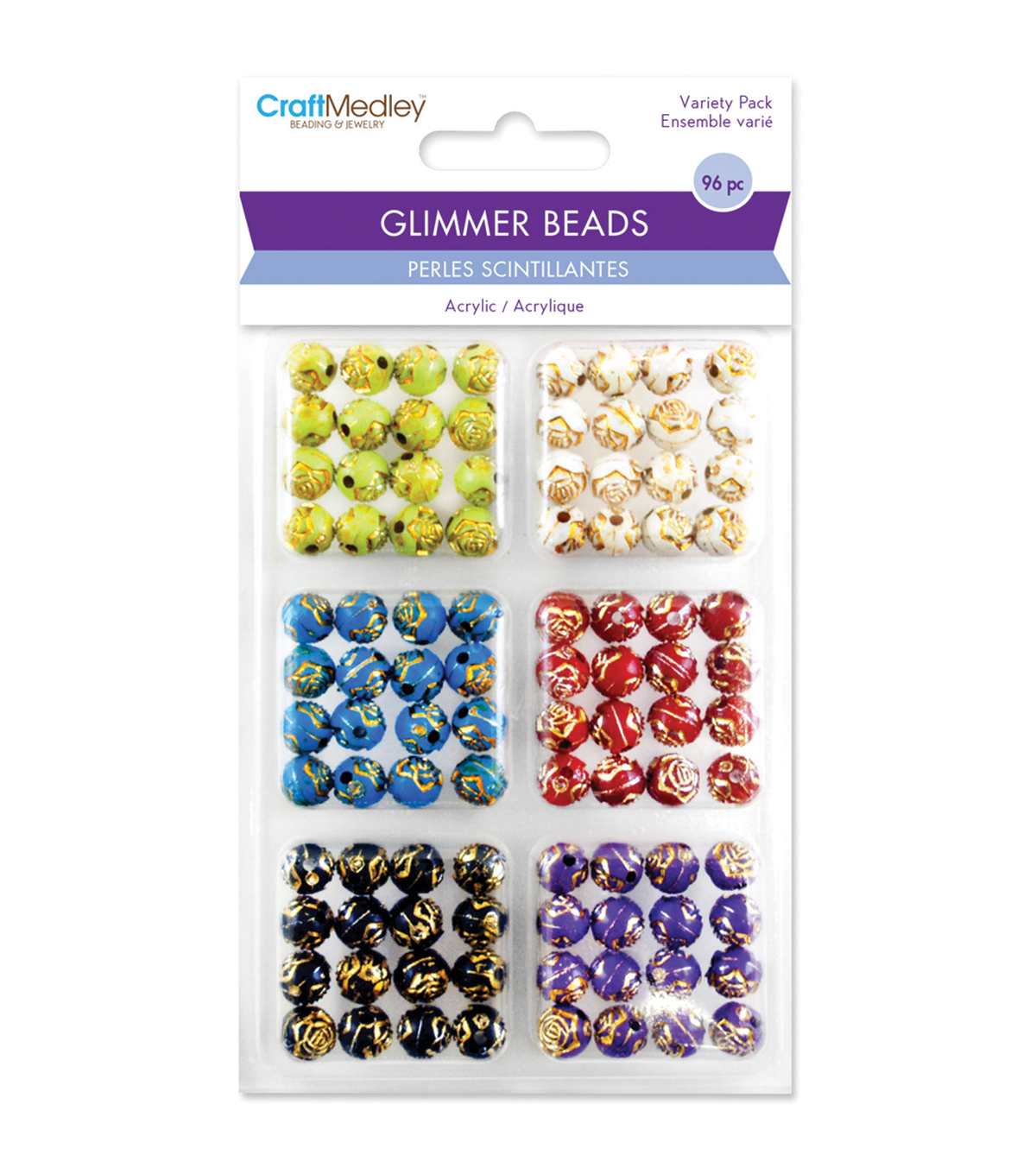 Craft Medley Gilded Rose Disco Ball Bead Variety Pack