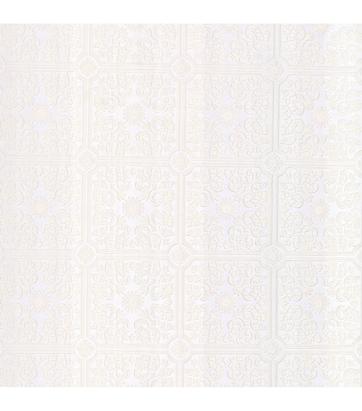 Sabrina White Tin Ceiling Wallpaper Sample