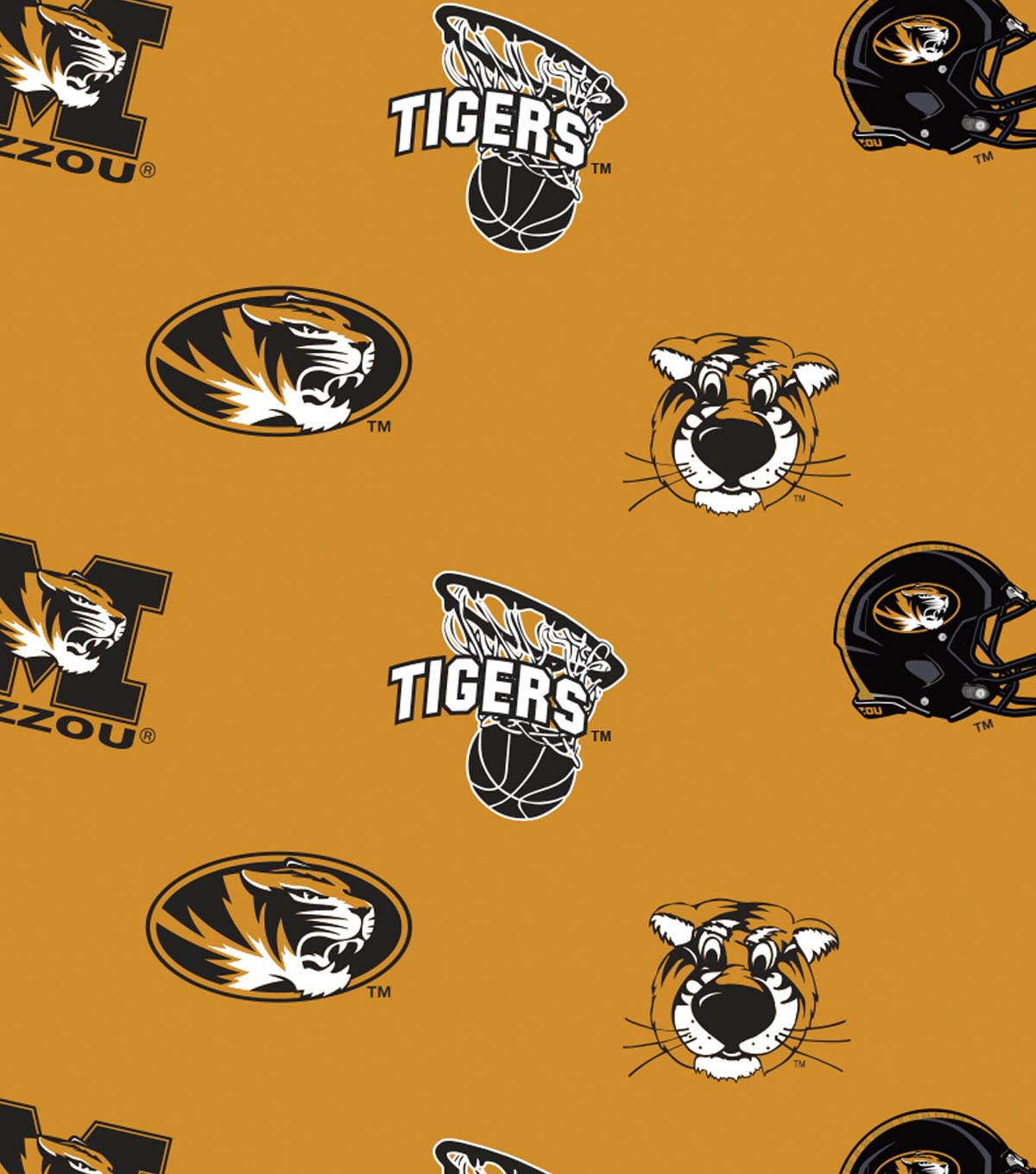 University of Missouri Tigers Fleece Fabric 58\u0022-All Over