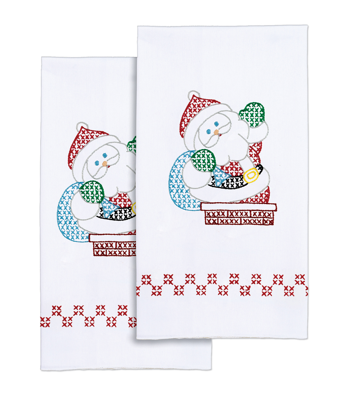 Jack Dempsey Stamped Decorative Hand Towel Santa White
