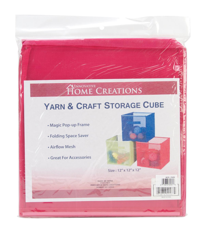 Yarnu0026Craft Storage Cube 12\u0022X12\u0022X12\u0022 Fuchsia