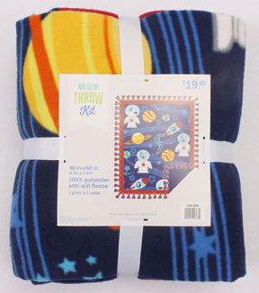 "No-Sew Throw Fleece Fabric 48""-Space Dogs Allover"