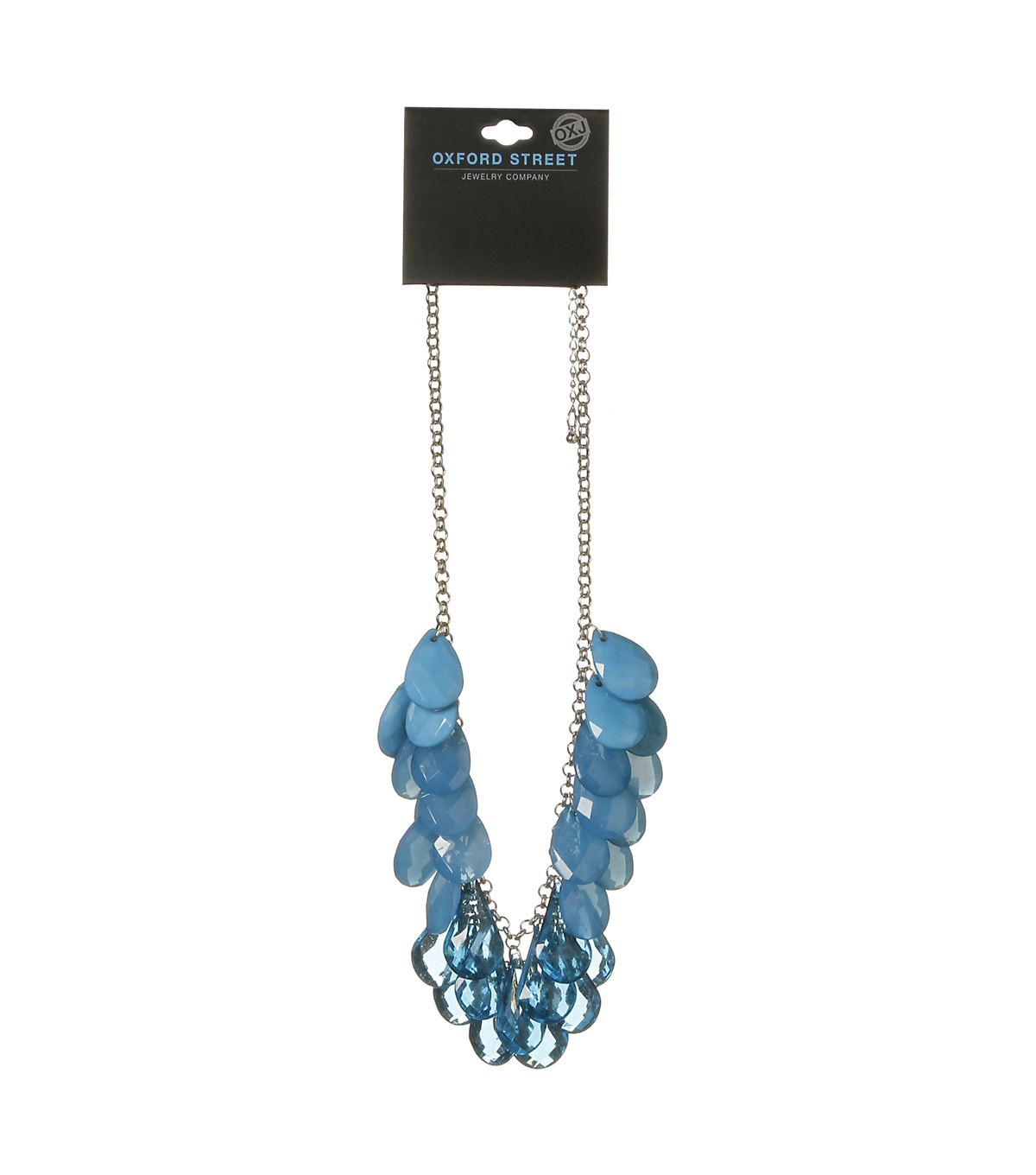 Oxford Street Jewelry Co. Blue Tear Drop Necklace w/Silver Chain