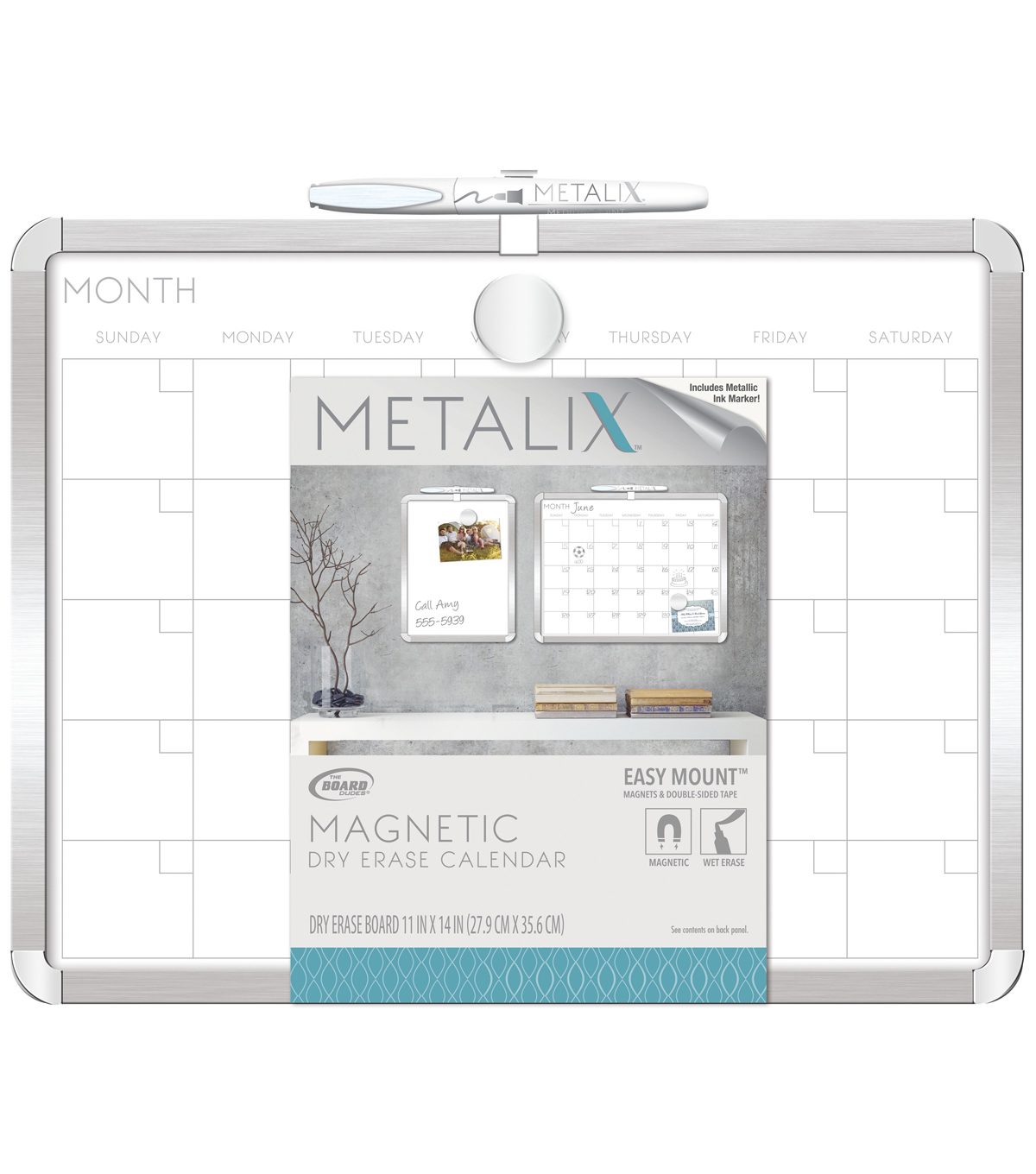 The Board Dudes Metalix Framed 11\u0027\u0027x14\u0027\u0027 Magnetic Dry Erase Board