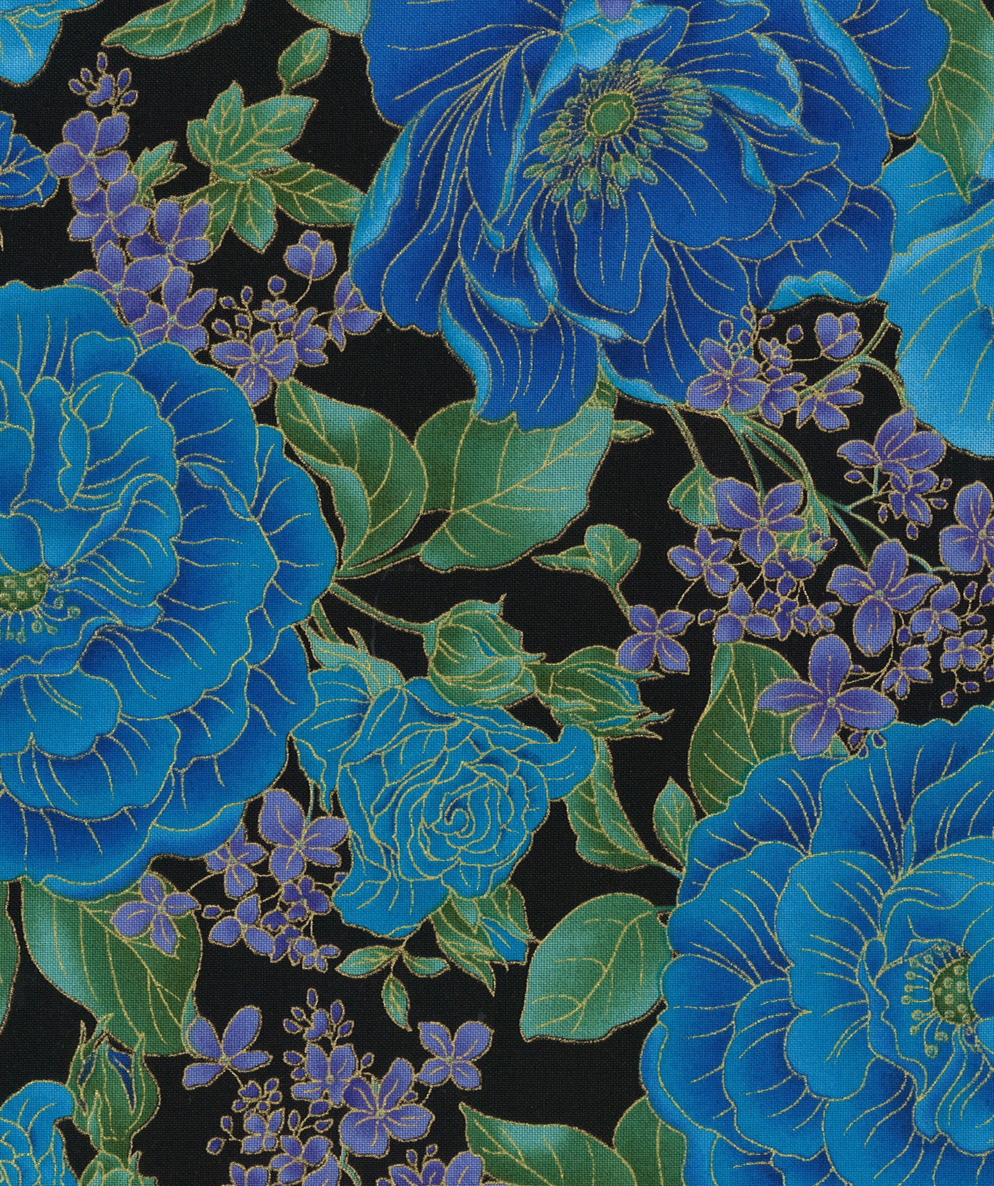 Keepsake Calico™ Cotton Fabric-Blue Floral On Black