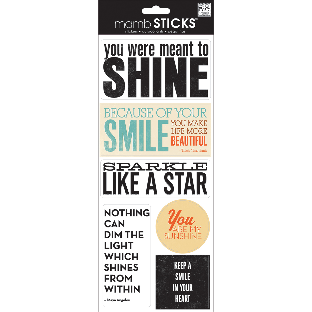 Me & My Big Ideas Sayings Stickers You Were Ment To Shine
