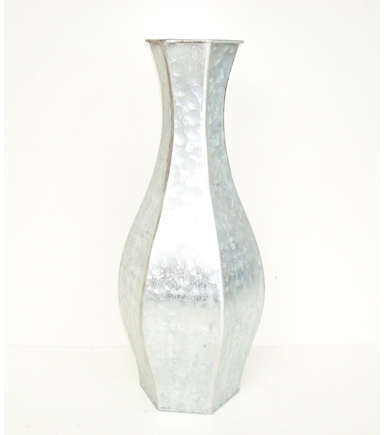 Bloom Room Hexagon Metal Vase-Silver