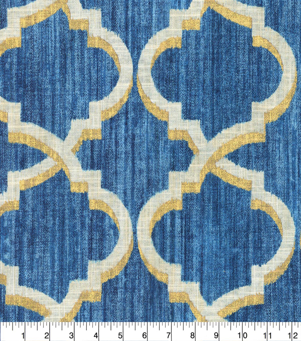 Waverly Upholstery Fabric 54\u0027\u0027-Indigo Lustrous Lattice