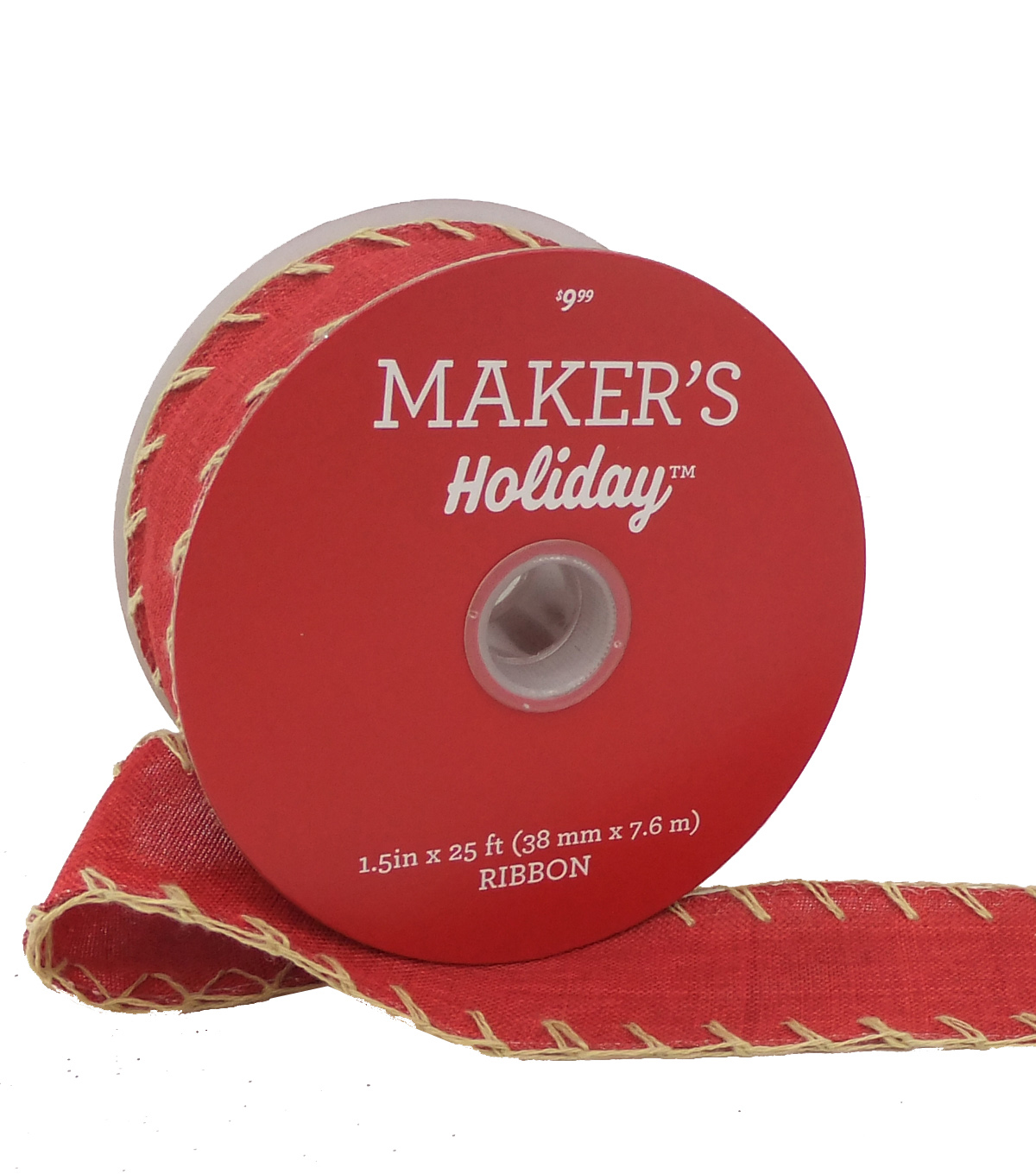 Maker's Holiday Christmas Linen Ribbon 1.5''X25'-Red with Tan Stitch