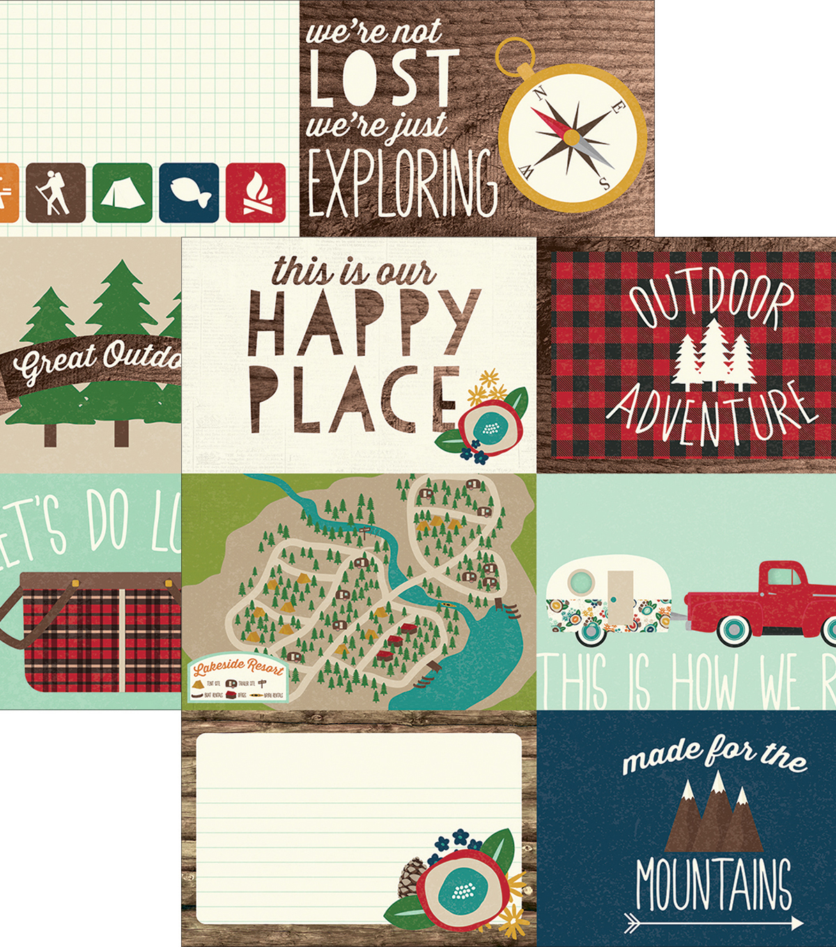 "Cabin Fever Double-Sided Elements Cardstock 12""X12""-Journaling Cards"