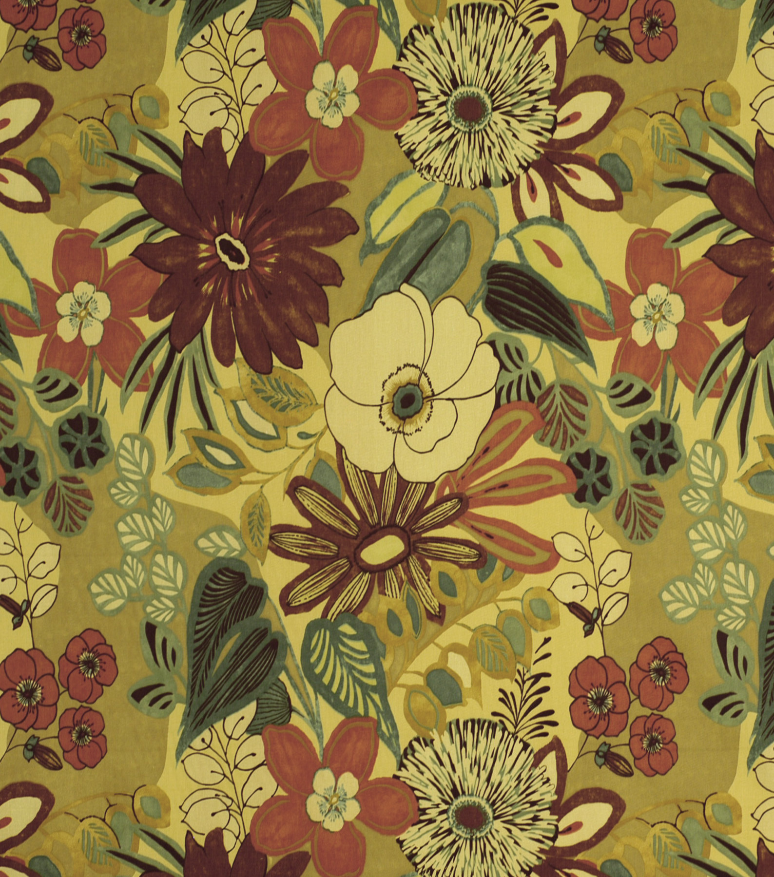 Home Decor 8\u0022x8\u0022 Fabric Swatch-Print Fabric Robert Allen Lilith Chutney