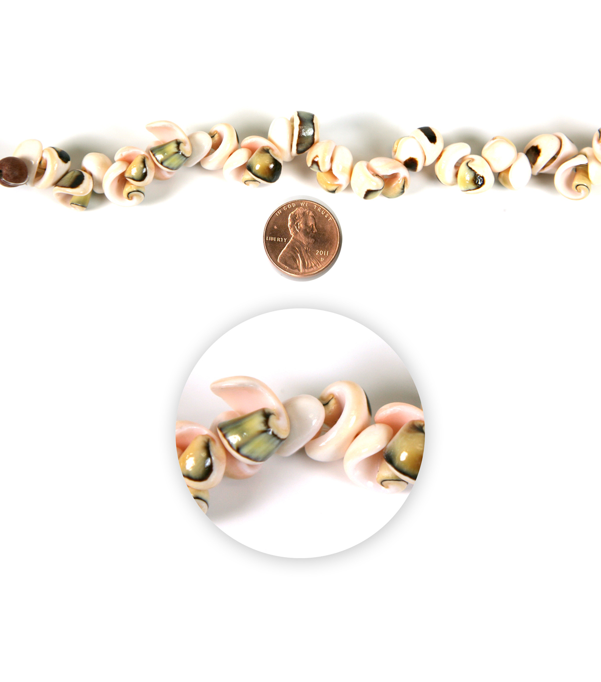 Blue Moon Strung Shell Beads,Popcorn,Natural Ivory/Peach