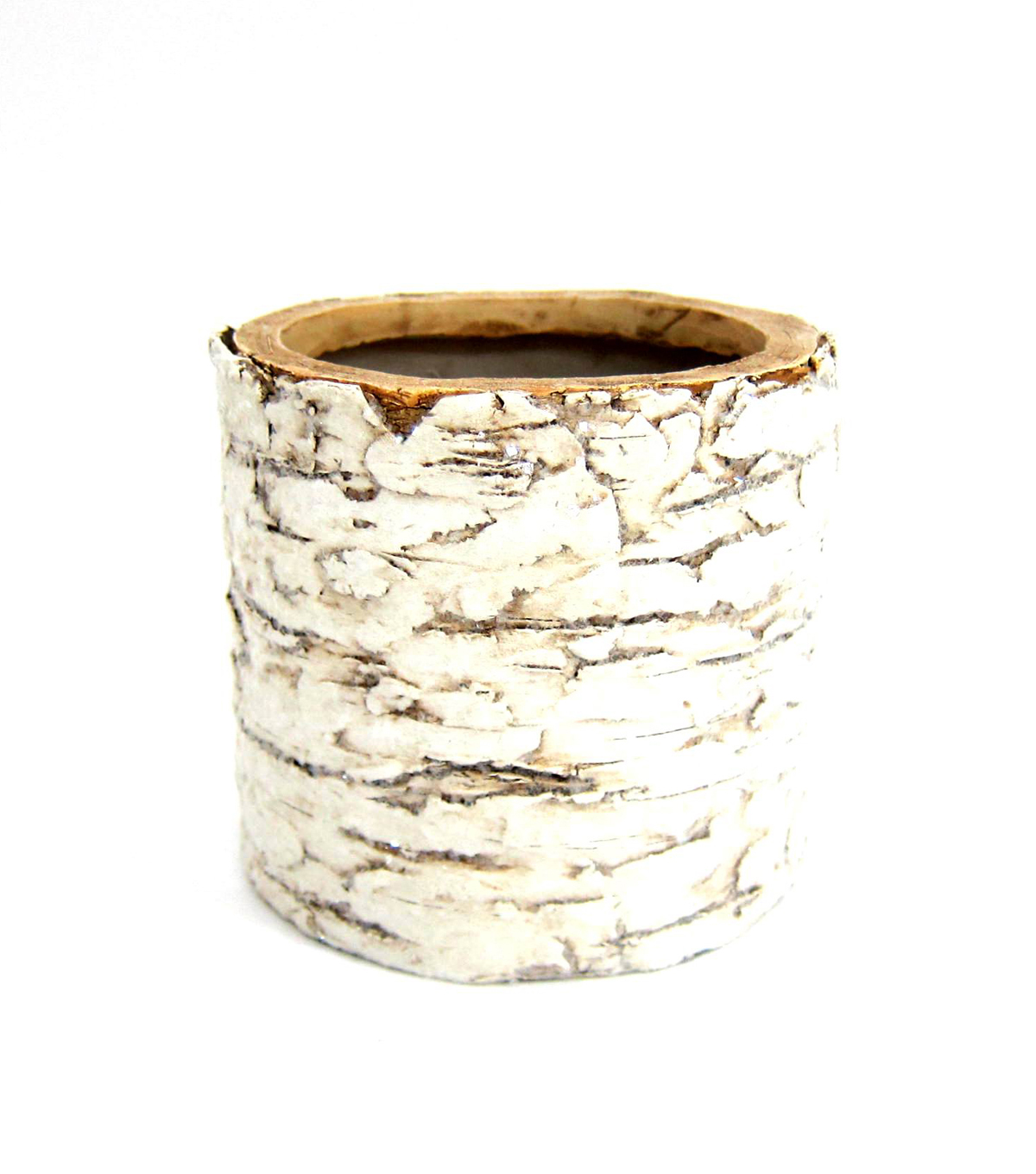 Blooming Holiday Faux Birch Round Planter