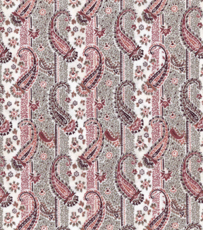 Vintage Cotton Fabric 43\u0027\u0027-Orange & Gray Paisley & Stripe