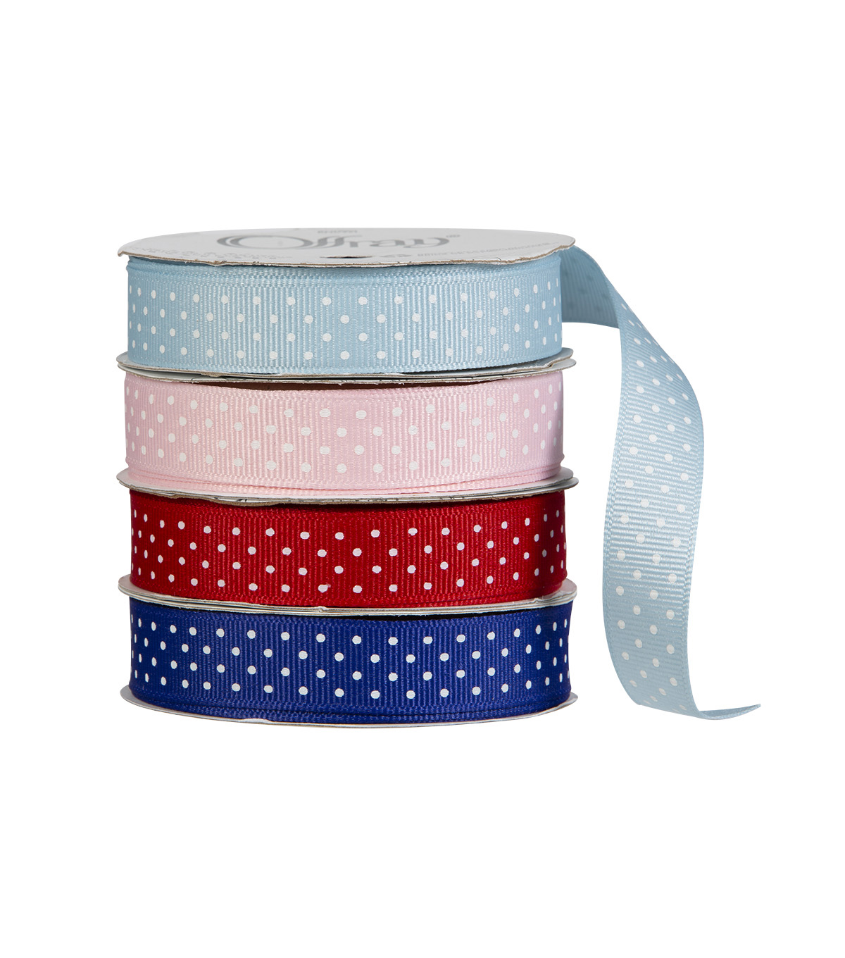 Offray 5/8\u0022x9\u0027 Swiss Dots Grosgrain Ribbon