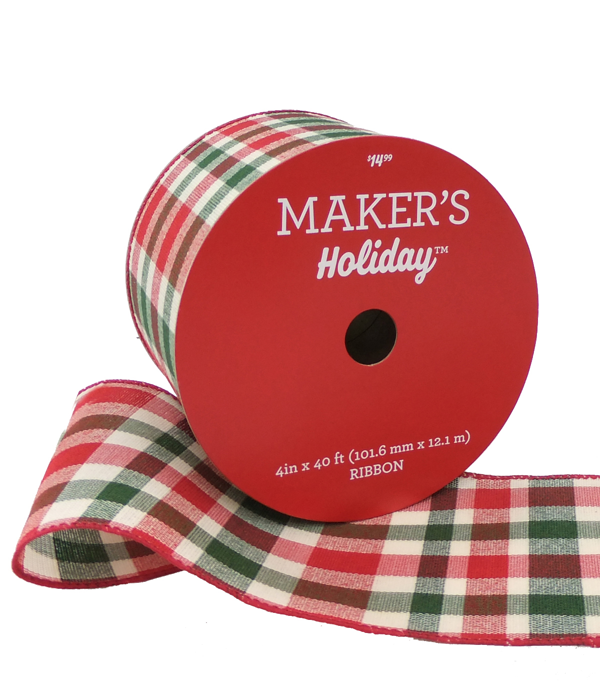 Maker's Holiday Christmas Ribbon 4''x40'-Moss, Red & Beige Plaid