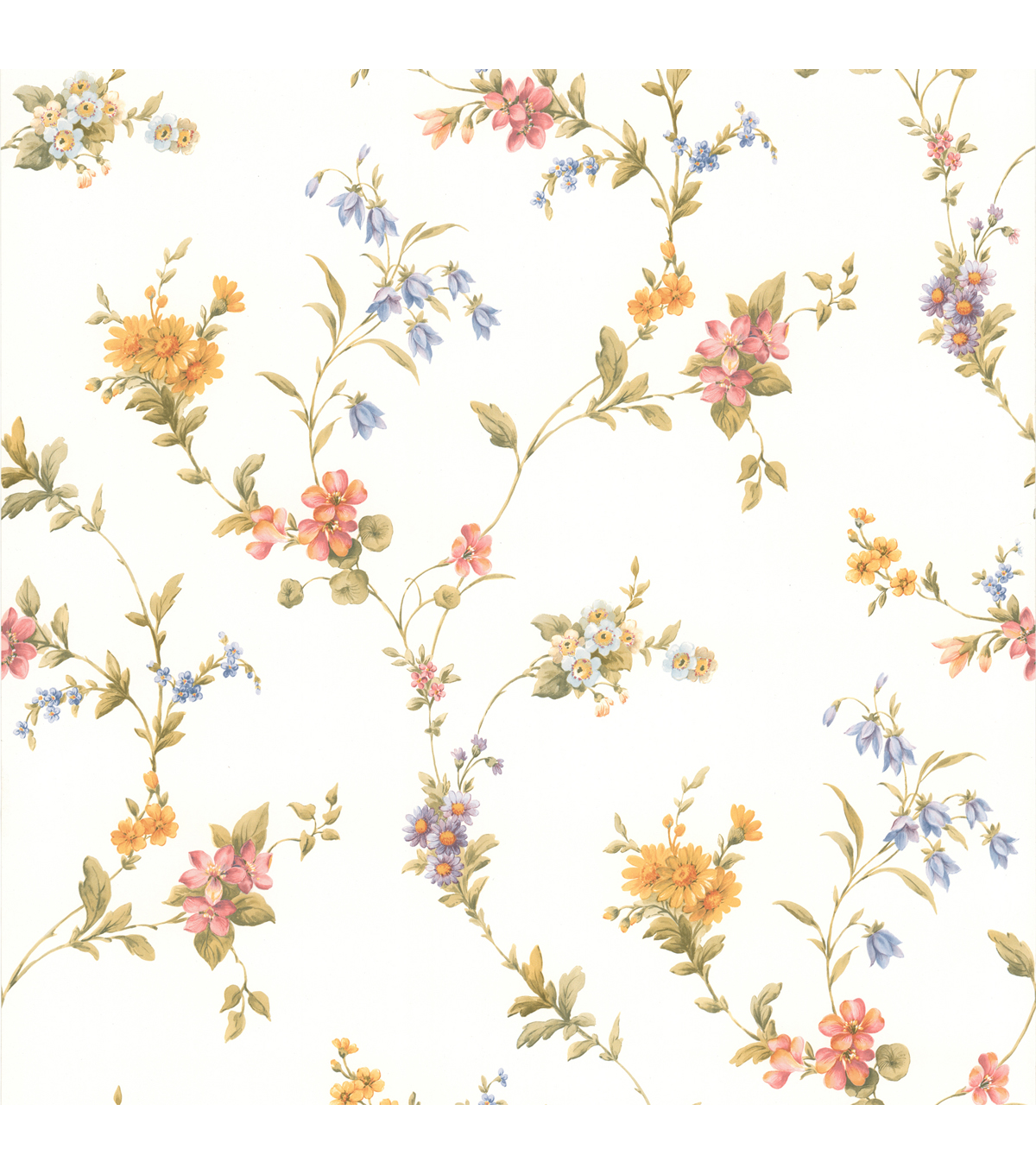Heidi Peach Floral Trail Wallpaper