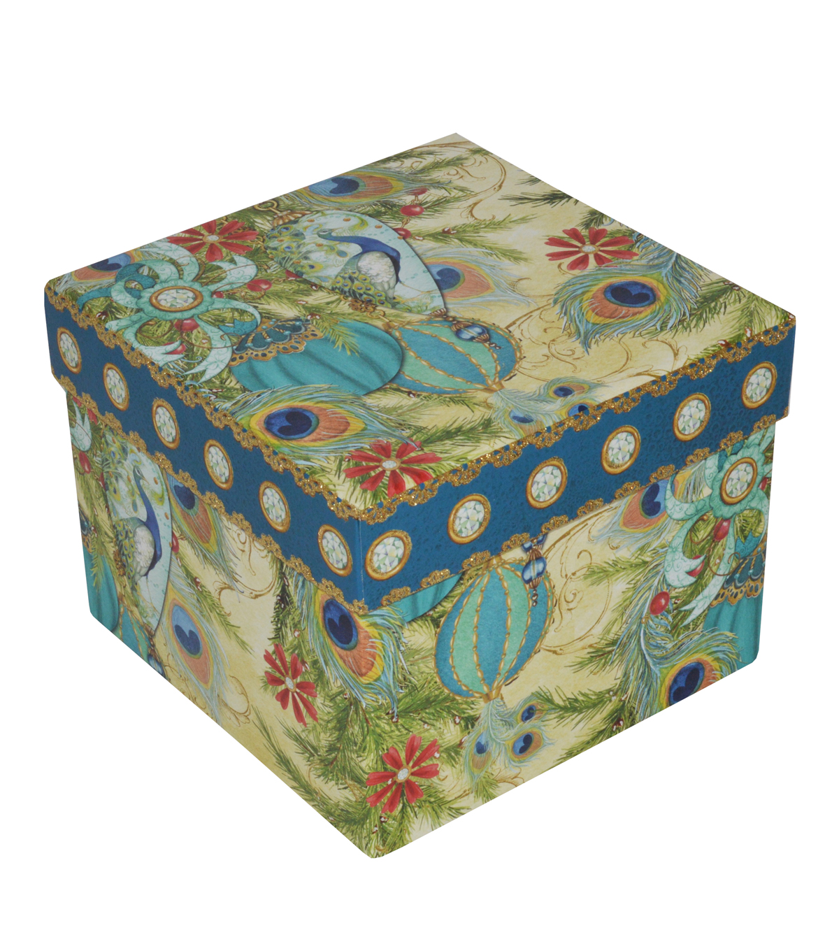 Maker\u0027s Holiday Large Square Box-Peacock