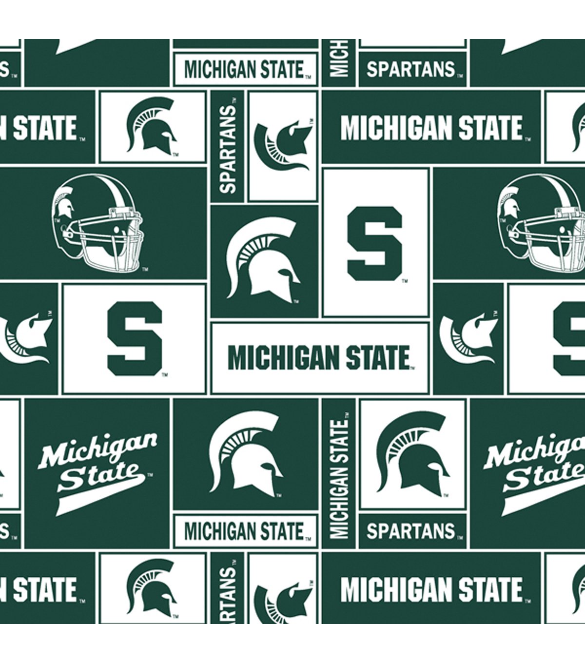 Michigan State University Spartans Fleece Fabric 58\u0022-Block