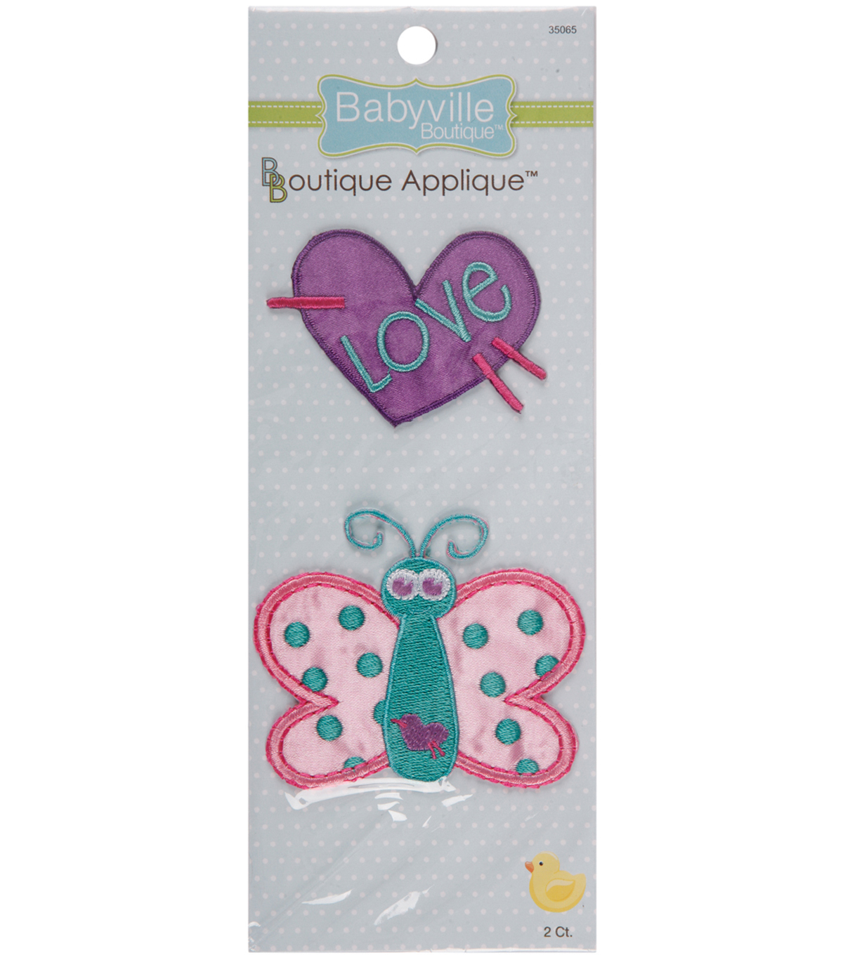 Babyville Boutique Appliques Butterfly And Heart 2pcs