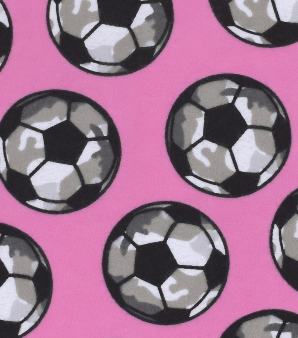 Snuggle Flannel Fabric 42\u0027\u0027-Camo Soccer Balls on Pink